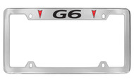 Pontiac G6 with 2 Red Logos Top Engraving Chrome Plated Brass License Plate Frame with Black Imprint