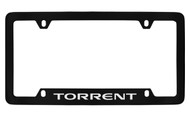 Pontiac Torrent Bottom Engraved Black Coated Zinc License Plate Frame with Silver Imprint