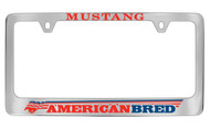 Ford Mustang American Bred Chrome Plated Solid Solid Brass License Plate Frame Holder License Plate Frame with Red and Blue Imprint