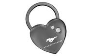 Mustang Black Nickel Heart Shape Keychain Embellished with Swarovski Crystals