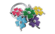 Chrome Plated Dual Sides Flowers Theme Light Blue Pink Orange Purple and Green with Clear Stellex Crystals Keychain