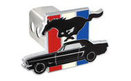 Ford Mustang Pony Emblem with Three Color Bar Hitch Cover Plug