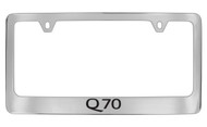 Infiniti Q70 Chrome Plated Solid Brass License Plate Frame Holder with Black Imprint
