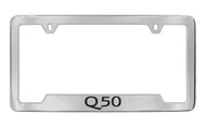 Infiniti Q50 Bottom Engraved Chrome Plated Solid Brass License Plate Frame Holder with Black Imprint