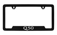 Infiniti Q50 Bottom Engraved Black Coated Zinc License Plate Frame Holder with Silver Imprint