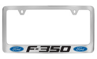 Ford F-350 with Dual Logos Chrome Plated Solid Brass License Plate Frame Holder with Black Imprint