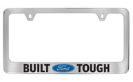 Ford Built Ford Tough with Logo Chrome Plated Solid Brass License Plate Frame Holder with Black Imprint