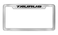 Ford Taurus with Logo Top Engraved Chrome Plated Solid Brass License Plate Frame Holder with Black Imprint