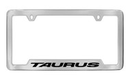 Ford Taurus with Logo Bottom Engraved Chrome Plated Solid Brass License Plate Frame Holder with Black Imprint