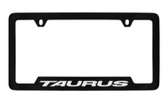 Ford Taurus Bottom Engraved Black Coated Zinc License Plate Frame Holder with Silver Imprint