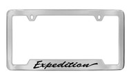 Ford Expedition Script Bottom Engraved Chrome Plated Solid Brass License Plate Frame Holder with Black Imprint