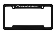 Ford Expedition Script Top Engraved Black Coated Zinc License Plate Frame Holder with Silver Imprint