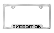 Ford Expedition Bottom Engraved Bottom Engraved Chrome Plated Solid Brass License Plate Frame Holder with Black Imprint