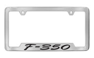 Ford F-350 Script Bottom Engraved Chrome Plated Solid Brass License Plate Frame Holder with Black Imprint