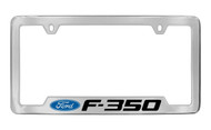 Ford F-350 with Logo Bottom Engraved Chrome Plated Solid Brass License Plate Frame Holder with Black Imprint