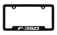 Ford F-350 Bottom Engraved Black Coated Zinc License Plate Frame Holder with Silver Imprint
