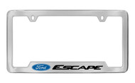 Ford Escape with Logo Bottom Engraved Chrome Plated Solid Brass License Plate Frame Holder with Black Imprint