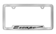 Ford Escape Script Bottom Engraved Chrome Plated Solid Brass License Plate Frame Holder with Black Imprint