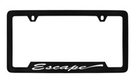 Ford Escape Script Bottom Engraved Black Coated Zinc License Plate Frame Holder with Silver Imprint