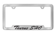 Ford Taurus Sho Script Bottom Engraved Chrome Plated Solid Brass License Plate Frame Holder with Black Imprint