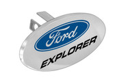 """Ford Logo Oval Trailer Hitch Cover Plug with 1.25"""" Stainless Steel Post"""