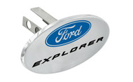 """Ford Explorer with Logo Oval Trailer Hitch Cover Plug with 1.25"""" Stainless Steel Post"""