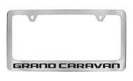 Dodge Grand Caravan Block Letters License Plate Frame Tag Holder with Black Imprint