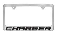 Dodge Charger Block Letters License Plate Frame Tag Holder with Black Imprint