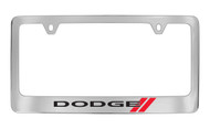 Dodge Logo Chrome Plated Solid Brass License Plate Frame Holder with Black Imprint