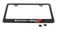 Dodge Logo Black Coated Zinc License Plate Frame Holder with Silver Imprint