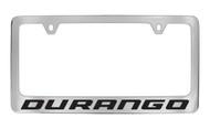 Dodge Durango Chrome Plated Solid Brass License Plate Frame Holder with Black Imprint