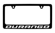 Dodge Durango Black Coated Zinc License Plate Frame Holder with Silver Imprint