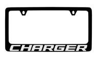 Dodge Charger Black Coated Zinc License Plate Frame Holder with Silver Imprint