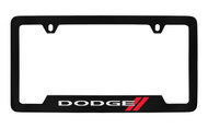 Dodge Logo Black Coated Zinc Bottom Engraved License Plate Frame Holder with Silver Imprint