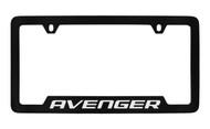 Dodge Avenger Black Coated Zinc Bottom Engraved License Plate Frame Holder with Silver Imprint