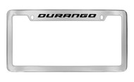 Dodge Durango Chrome Plated Solid Brass Top Engraved License Plate Frame Holder with Black Imprint