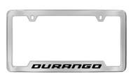 Dodge Durango Chrome Plated Solid Brass Bottom Engraved License Plate Frame Holder with Black Imprint