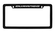 Dodge Durango Black Coated Zinc Top Engraved License Plate Frame Holder with Silver Imprint