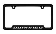 Dodge Durango Black Coated Zinc Bottom Engraved License Plate Frame Holder with Silver Imprint