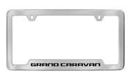 Dodge Grand Caravan Chrome Plated Solid Brass Bottom Engraved License Plate Frame Holder with Black Imprint