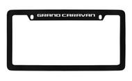 Dodge Grand Caravan Black Coated Zinc Top Engraved License Plate Frame Holder with Silver Imprint
