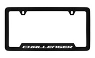 Dodge Challenger Black Coated Zinc Bottom Engraved License Plate Frame Holder with Silver Imprint