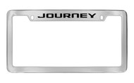 Dodge Journey Chrome Plated Solid Brass Top Engraved License Plate Frame Holder with Black Imprint