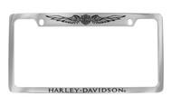 Harley-Davidson 2 Top Holes Frame Engraved Bar & Shield with Wings On Top, Harley-Davidson On Bottom Chrome Brass Frame Black Epoxy Filled