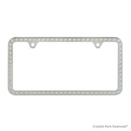 Premium Chrome Plated Zinc License Plate Frame Holder Embellished with Swarovski Crystals (LFZCY301-AB-2H)