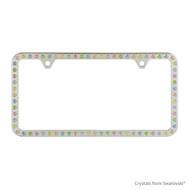Premium Chrome Plated Zinc License Plate Frame Holder Embellished with Swarovski Crystals (LFZCY301-M-2H)