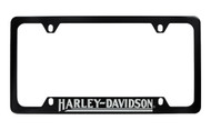 Harley-Davidson 4 Holes Black License Plate Frame Bottom Rotary Engraved Harley-Davidson Imprint Exposing Shiny Metallic Lettering with Clear Epoxy Coating On Black Metal Frame