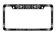 Harley-Davidson Black Frame Chrome Imprints Bar & Shield Top Harley-Davidson Wordmark Bottom Chrome Imprint On a  Black Powder Coated Frame