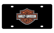 Harley-Davidson Black Front Plate with 2 Color Bar & Shield Logo Emblem Mounted Onto Black Stainless Steel Plate