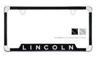 Lincoln License Plate Frame with Carbon Fiber Vinyl Insert